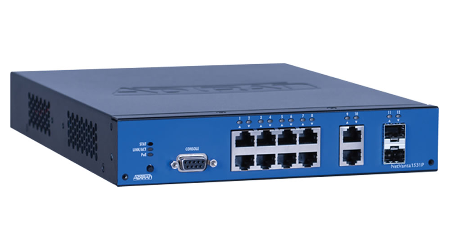 Adtran NetVanta 1531P - Managed, 12-port, Layer 3 Lite, Gigabit Ethernet Switch, with PoE - Open Box