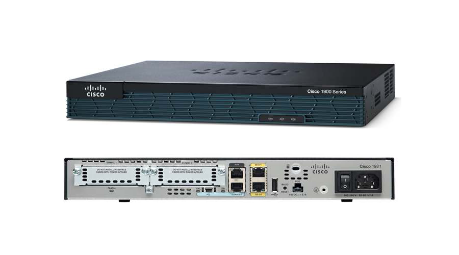 Cisco 1921 with 2 onboard GE, 2 EHWIC slots, 256MB USB Flash (internal) 512MB DRAM, IP Base License