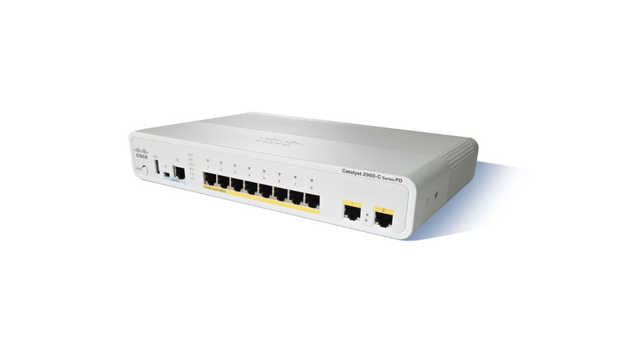 Cisco Catalyst 2960-C Compact PD Switch 8 FE, 2 x 1G, PoE+ LAN Base