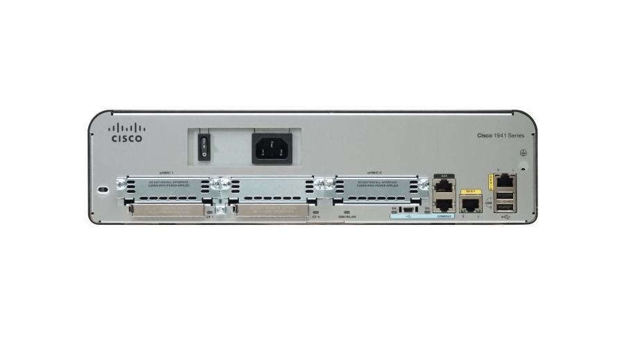 Cisco 1941 with 2 Onboard GE, 2 EHWIC, 1 ISM, 256MB CF, 512MB DRAM, IP Base