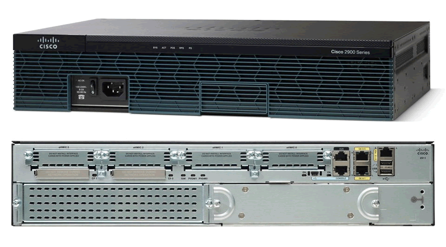 Cisco 2911 with 3 Onboard GE, 4 EHWIC, 2 DSP, 1 ISM, 256MB CF, 512MB DRAM, IP Base
