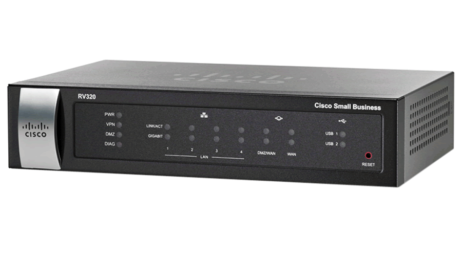 Cisco RV320 Dual Gigabit WAN VPN Router - 4 LAN Ports, 1 WAN Port, 2 USB Ports