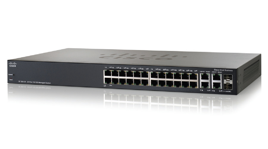 Cisco SF300-24MP (SF300-24MP-K9) 24-port 10/100 Max-PoE Managed Switch