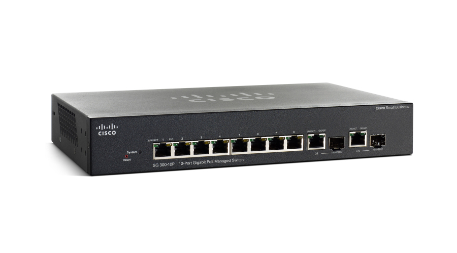Cisco SG300-10PP 10-port Gigabit PoE+ Managed Switch