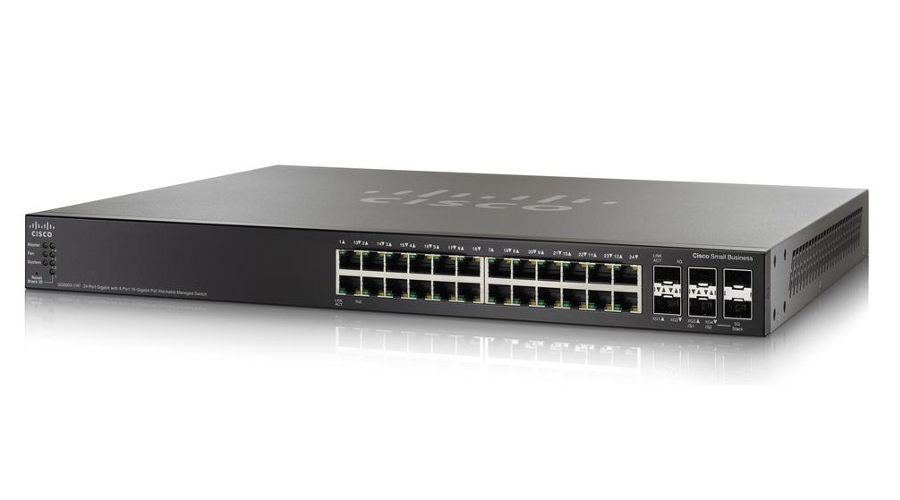 Cisco SG500X-24P 24-Port Gig PoE with 4-Port 10-Gig Stackable Managed Switch