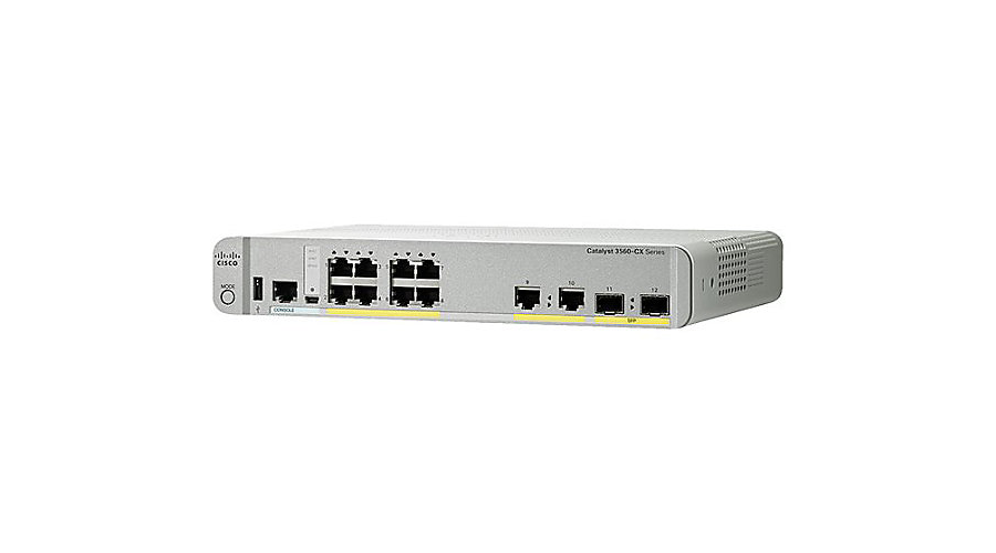 Cisco Catalyst 3560-CX Switch 8 GE PoE+, uplinks: 2 x 1G SFP and 2 x 1G copper, IP Base