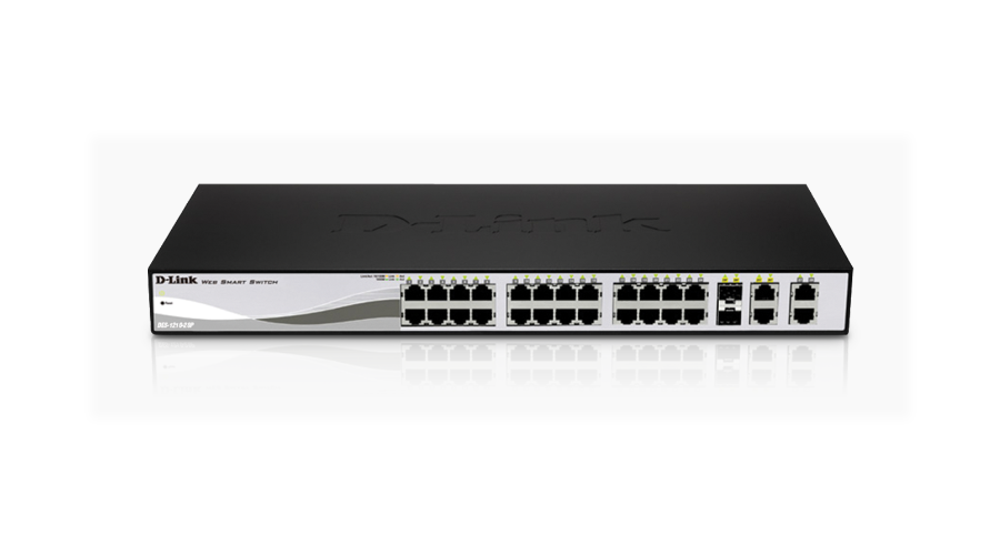 DLink 24-Port PoE Fast Ethernet WebSmart Switch, including 2 Gigabit BASE-T and 2 Gigabit Combo BASE-T/SFP
