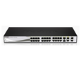 DLink 24-Port PoE Fast Ethernet WebSmart Switch, including 2 Gigabit BASE-T and 2 Gigabit Combo BASE-T/SFP (DES-1210-28P)