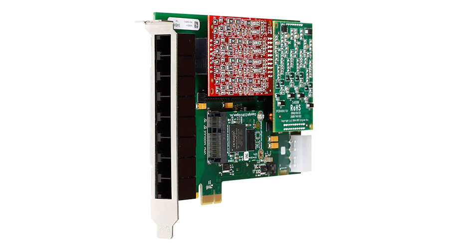 Digium 1A8B00F 8 Port Modular Analog PCI-Express X1 Card, No Interfaces