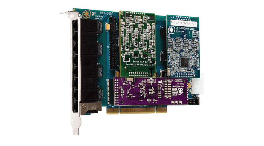 Digium Eight Port Hybrid PCI 3.3/5.0V card with 4 BRI and 4 Station Interfaces