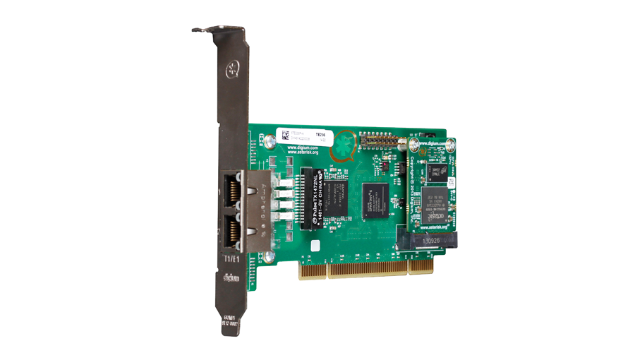 Digium TE236BF Two Span Digital T1/E1/J1/PRI PCI 3.3/5.0V Card  and Hardware Echo Cancellation