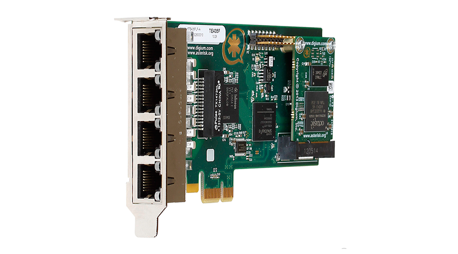 Digium TE435BF Four (4) Span Digital T1/E1/J1/Pri PCI-Express X1 Card and HW Echo Cancellation (Vpm128)
