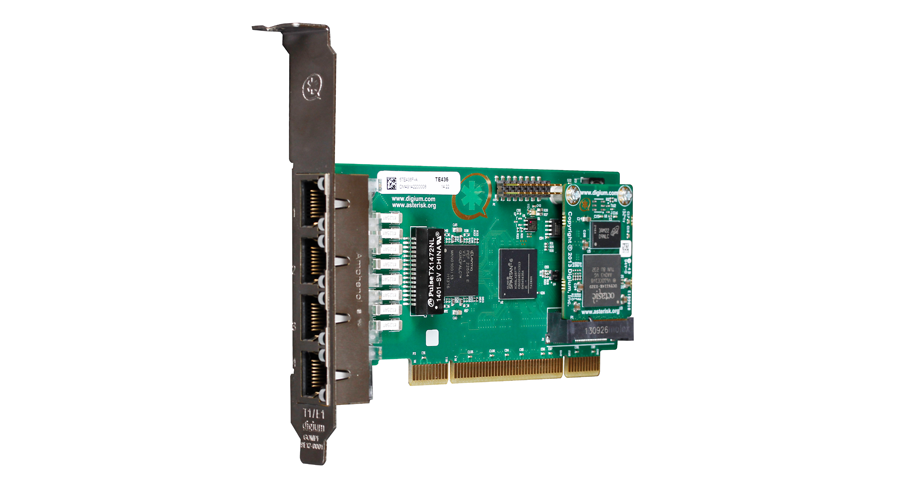 Digium TE436BF Four Span Digital T1/E1/J1/PRI PCI  3.3/5.0V Card and Hardware Echo Cancellation