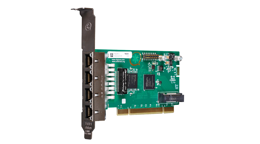 Digium TE436F Four Span Digital T1/E1/J1/PRI PCI  3.3/5.0V Card