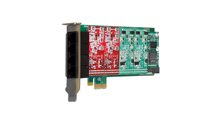Digium 1A4B03F 4 Port Modular Analog PCI-Express X1 Card with 4 Trunk Interfaces and HW Echo Can