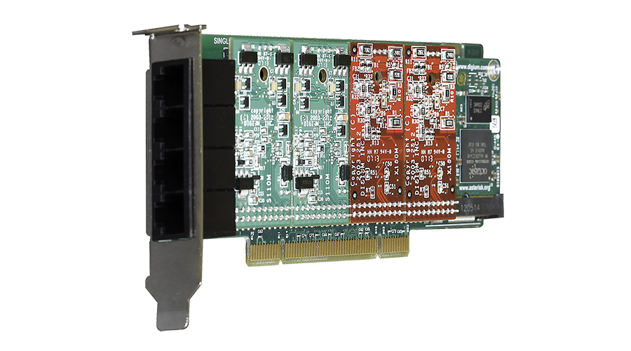 Digium 1A4A06F 4 Port Modular Analog PCI 3.3/5.0V Card with 4 Station Interfaces and HW Echo Can