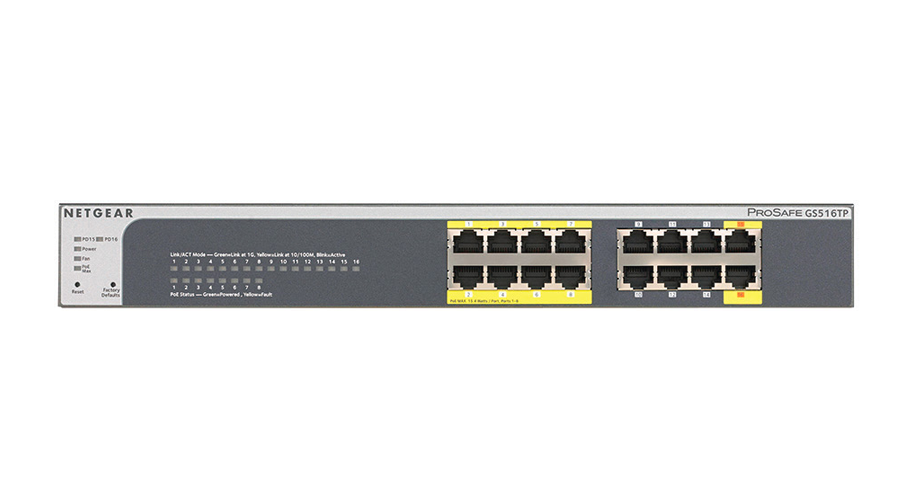 NetGear ProSafe Plus Switch 16-port Gigabit Ethernet Switch with 8-port PoE