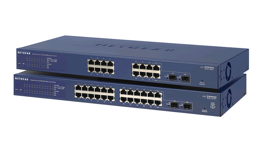 NetGear ProSafe 24-Port 10/100/1000 Smart PoE Switch - GS724TP - Open Box