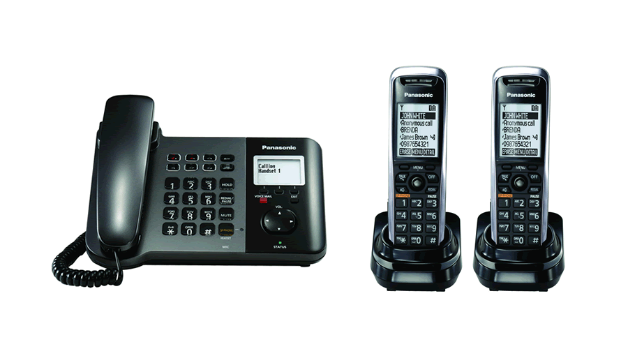Panasonic TGP550 SIP DECT Phone Corded / Cordless Base Bundle with 2 Handsets