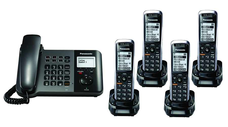 Panasonic TGP550 SIP DECT Phone Corded / Cordless Base Bundle with 4 Handsets