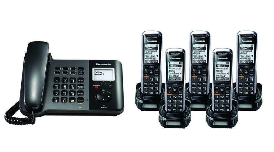 Panasonic TGP550 SIP DECT Phone Corded / Cordless Base Bundle with 5 Handsets